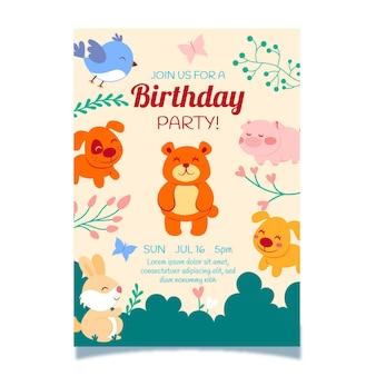 Plantilla de invitación de cumpleaños de animales