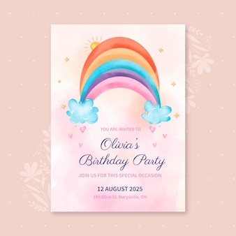 Plantilla de invitación de cumpleaños de arco iris de acuarela pintada a mano