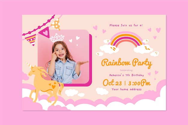 Plantilla de invitación de cumpleaños de arco iris dibujado a mano con foto