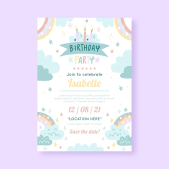 Plantilla de invitación de cumpleaños de arco iris dibujado a mano