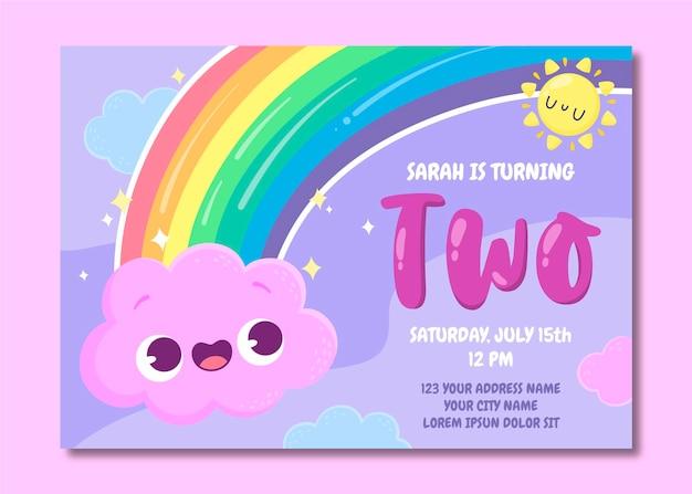 Plantilla de invitación de cumpleaños de arco iris de dibujos animados