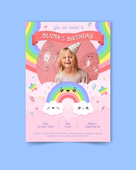 Plantilla de invitación de cumpleaños de arco iris con foto