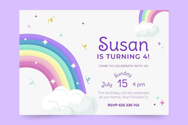 Plantilla de invitación de cumpleaños de arco iris