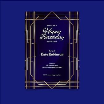 Plantilla de invitación de cumpleaños azul oscuro con líneas doradas