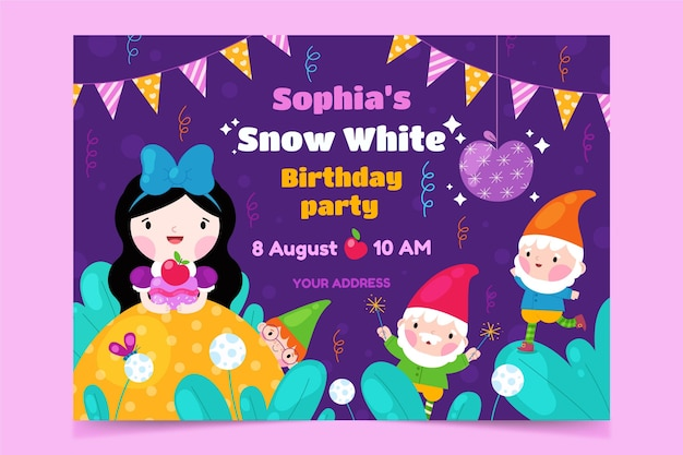 Plantilla de invitación de cumpleaños blanca como la nieve plana
