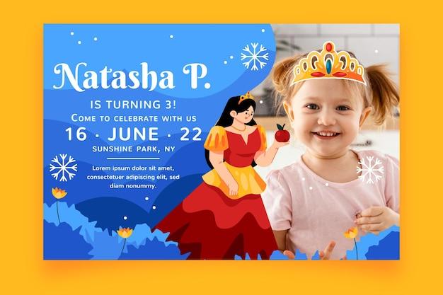 Plantilla de invitación de cumpleaños de blancanieves