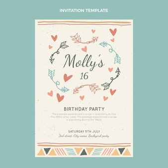 Plantilla de invitación de cumpleaños boho dibujada a mano