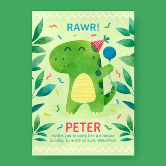 Plantilla de invitación de cumpleaños de dinosaurio acuarela pintada a mano