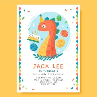 Plantilla de invitación de cumpleaños de dinosaurio dibujado a mano con foto