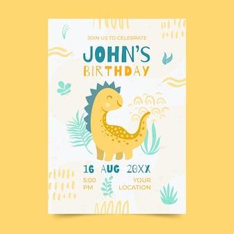 Plantilla de invitación de cumpleaños de dinosaurio dibujado a mano