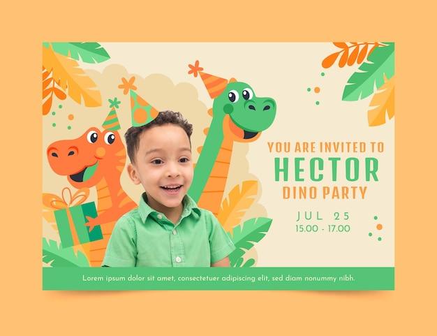 Plantilla de invitación de cumpleaños de dinosaurio de dibujos animados