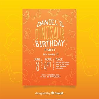 Plantilla de invitación de cumpleaños de dinosaurio con fondo de doodle
