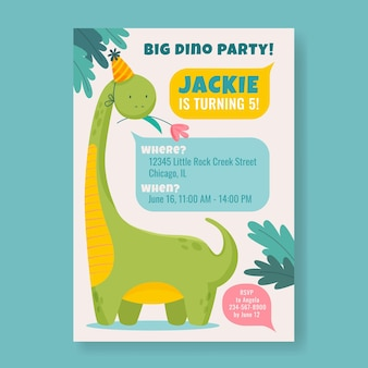 Plantilla de invitación de cumpleaños de dinosaurio plano orgánico