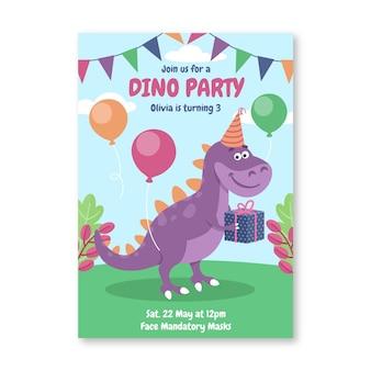 Plantilla de invitación de cumpleaños de dinosaurio plano