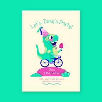 Plantilla de invitación de cumpleaños de dinosaurio