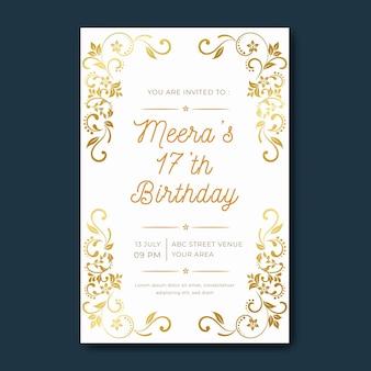 Plantilla de invitación de cumpleaños elegante