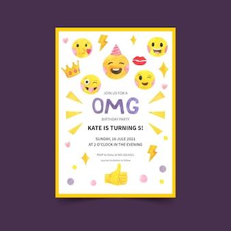 Plantilla de invitación de cumpleaños emoji acuarela pintada a mano
