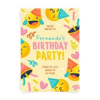 Plantilla de invitación de cumpleaños emoji dibujada a mano