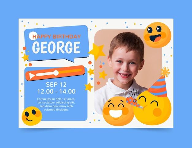 Plantilla de invitación de cumpleaños de emoji de dibujos animados con foto