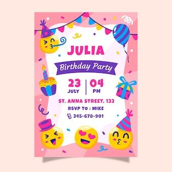 Plantilla de invitación de cumpleaños de emoji de dibujos animados
