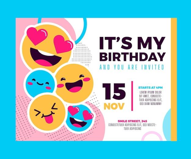 Plantilla de invitación de cumpleaños emoji
