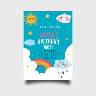 Plantilla de invitación de cumpleaños en estilo plano con lindo