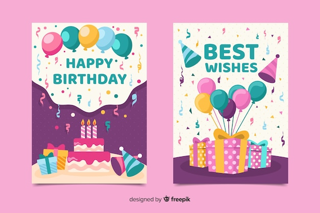 Plantilla de invitación de cumpleaños en estilo plano