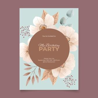 Plantilla de invitación de cumpleaños floral en acuarela