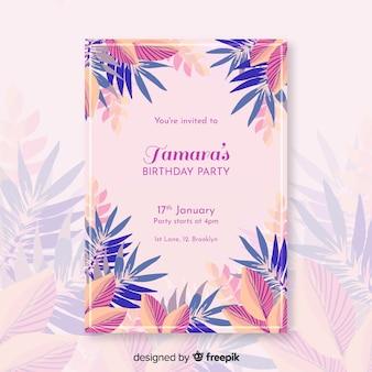 Plantilla de invitación de cumpleaños floral colorido
