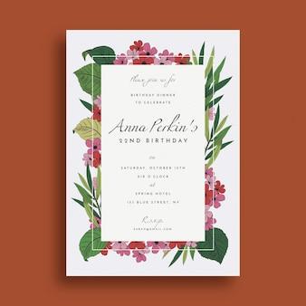 Plantilla de invitación de cumpleaños floral creativa