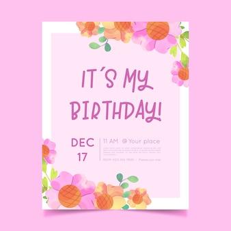 Plantilla de invitación de cumpleaños floral creativo