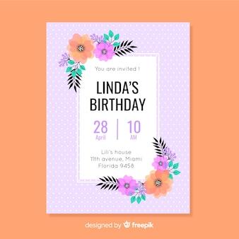 Plantilla de invitación de cumpleaños floral de diseño plano