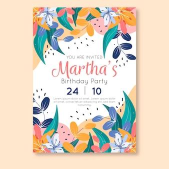 Plantilla de invitación de cumpleaños floral