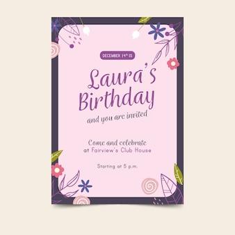 Plantilla de invitación de cumpleaños de flores