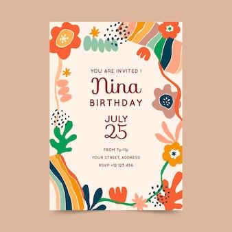 Plantilla de invitación de cumpleaños de formas abstractas dibujadas a mano
