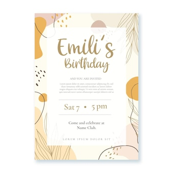 Plantilla de invitación de cumpleaños de formas abstractas planas dibujadas a mano