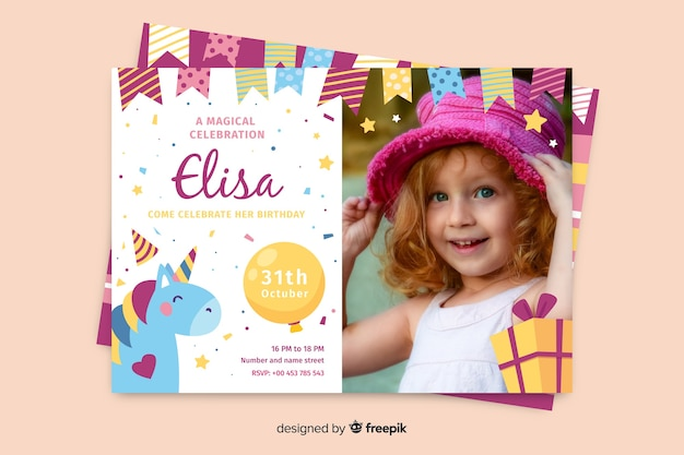Plantilla de invitación de cumpleaños con foto