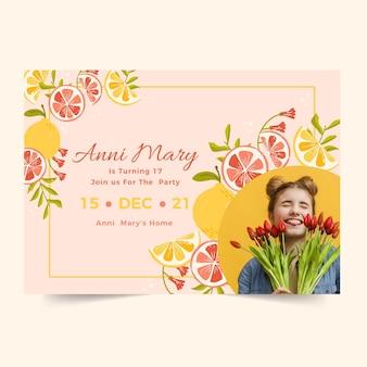 Plantilla de invitación de cumpleaños horizontal con cítricos