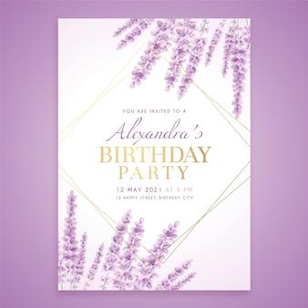 Plantilla de invitación de cumpleaños con lavanda