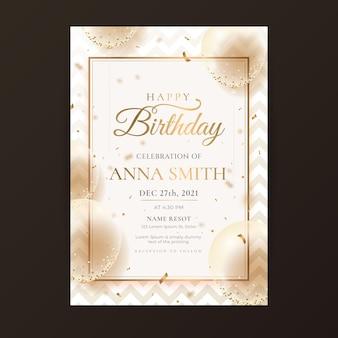 Plantilla de invitación de cumpleaños de lujo dorado degradado