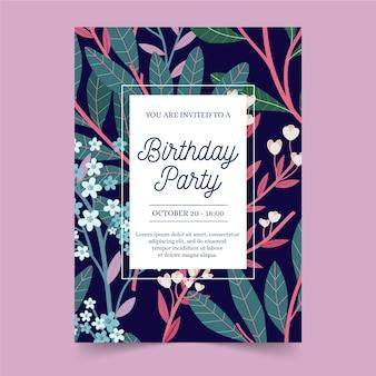 Plantilla de invitación de cumpleaños con marco y flores.
