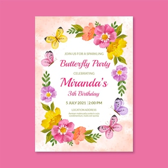 Plantilla de invitación de cumpleaños de mariposa de acuarela pintada a mano