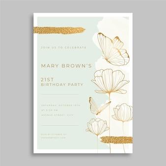 Plantilla de invitación de cumpleaños de mariposa dibujada a mano
