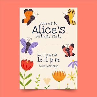 Plantilla de invitación de cumpleaños de mariposa de dibujos animados