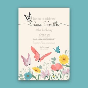Plantilla de invitación de cumpleaños de mariposa