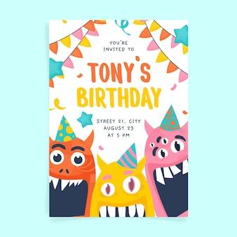 Plantilla de invitación de cumpleaños de monstruo dibujado a mano