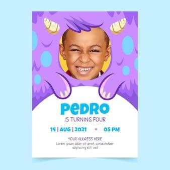 Plantilla de invitación de cumpleaños de monstruo de dibujos animados con foto