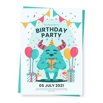 Plantilla de invitación de cumpleaños de monstruo de dibujos animados