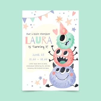 Plantilla de invitación de cumpleaños de monstruos de acuarela pintada a mano