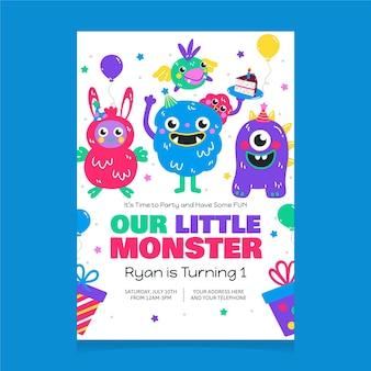 Plantilla de invitación de cumpleaños de monstruos de dibujos animados